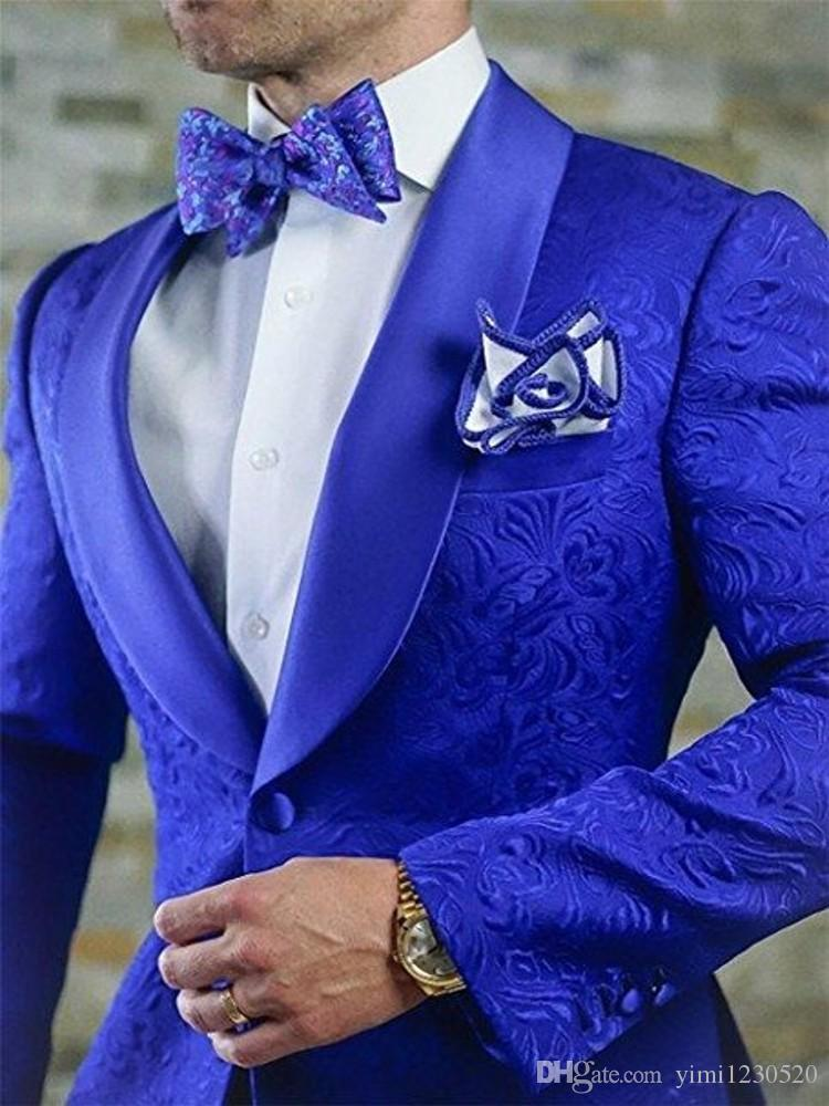 Royal Blue Design Abiti da uomo Scialle bavero Giacca da uomo Slim Fit Prom Abiti Costume Homme One Button Groomsmen Cappotto Only One Jacket
