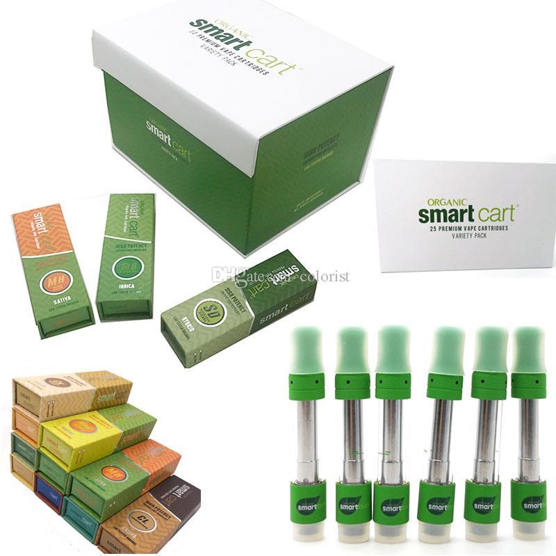 Smartbud Vapor Vape Cartridge Cart 25 Box Packaging Vaporizer Ceramic 0 8ml  Empty Pen Atomizer 510 Oil leaf Logo Copper Tips Cigarette ecig