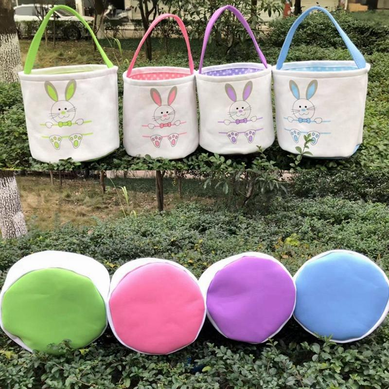 Easter Basket Canvas Easter Rabbit Baskets Bunny Ears Buckets Rabbit Tail Pail Latest Easter Eggs Hunt Bag 4 Colors K3658