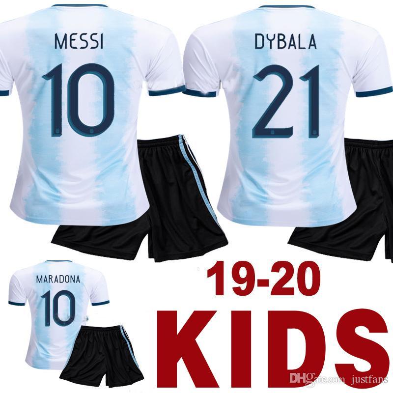 finest selection 5c6c4 20029 2019 2020 Argentina Kids soccer jersey Copa America child MESSI DYBALA  AGUERO HIGUAIN thailand quality football shirt Camisetas de futbol