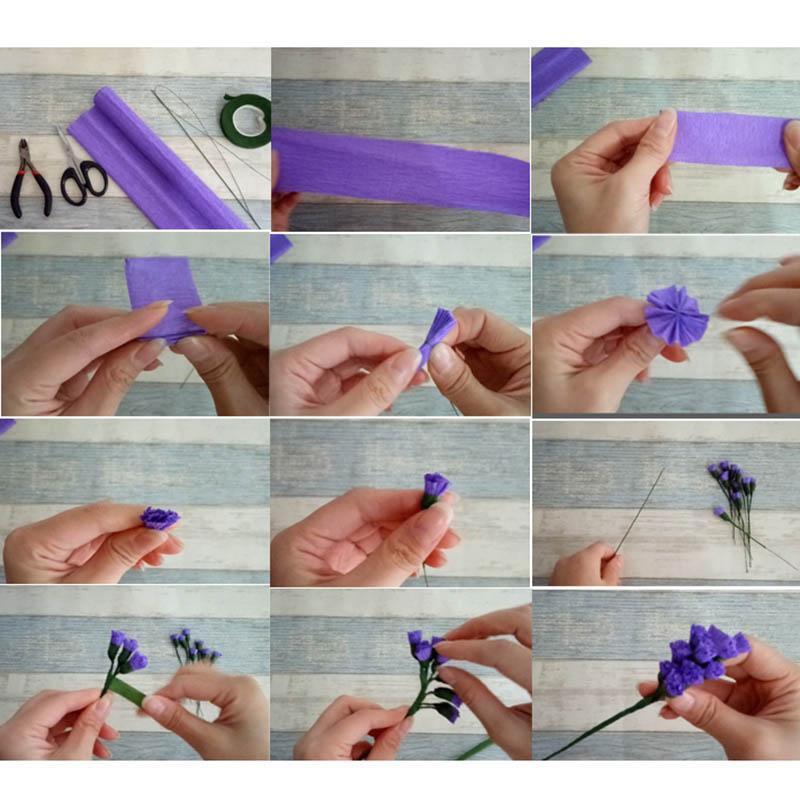 1 rolo 25 * 250 cm multicolor crepe papel flâmulas diy buquê de papel de flores de embrulho de embrulho de presente de casamento decoração de festa