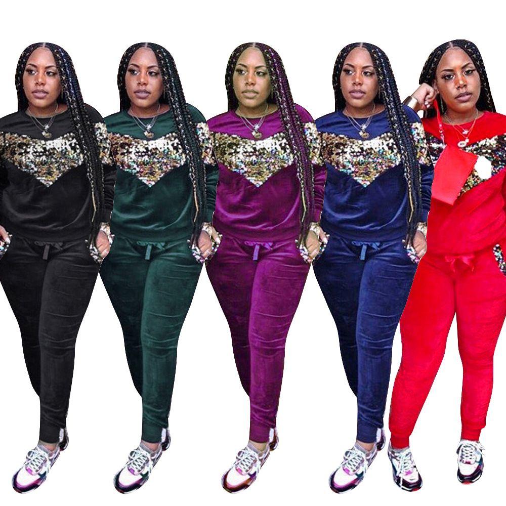9f5a9d89a9eca5 Women Tracksuit Long Sleeve T Shirts Tops + Pants Leggings Set ...
