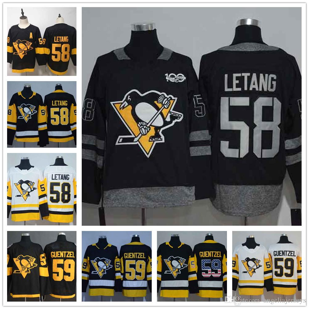 huge selection of 0c87b 635f7 Pittsburgh Penguins 58 Kris Letang White Road Stadium Series Ice Hockey  Jersey 59 Jake Guentzel Black Home USA Flag Stitched NHL Jerseys