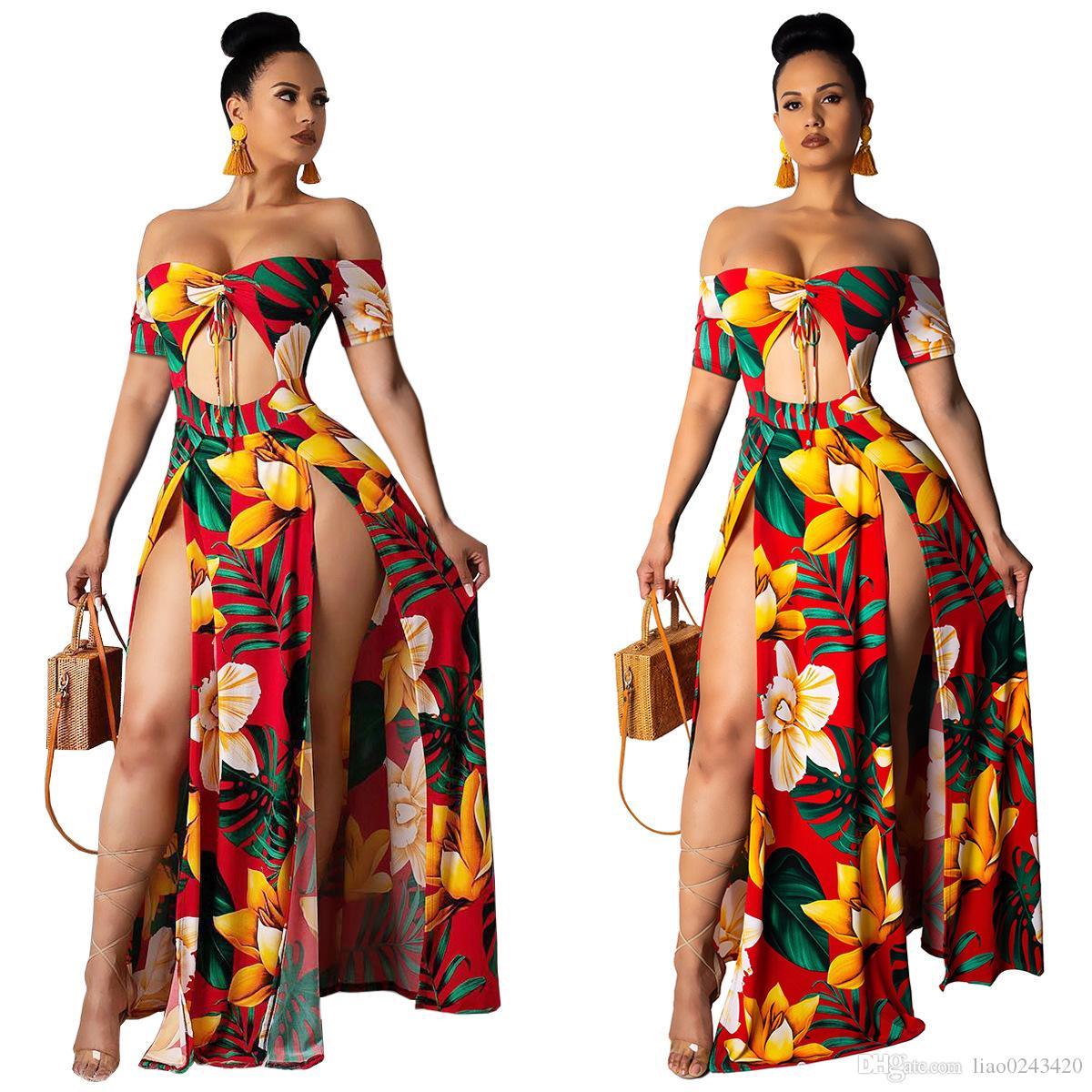 81970e58251d5 Free Ship 2019 Summer Women Sexy Strapless Floral Print Maxi Dresses  Vestidos High Split Long Beach Dress