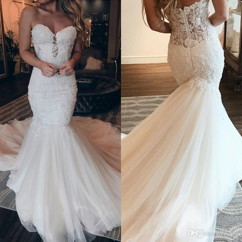 a1657d0b25ad3 2019 Sexy Beach Sweetheart Mermaid Wedding Dress Vestidos De Novia Delicate  Lace Appliques Tulle Backless Sweep Train Bohemian Bridal Gowns Wedding  Dress ...
