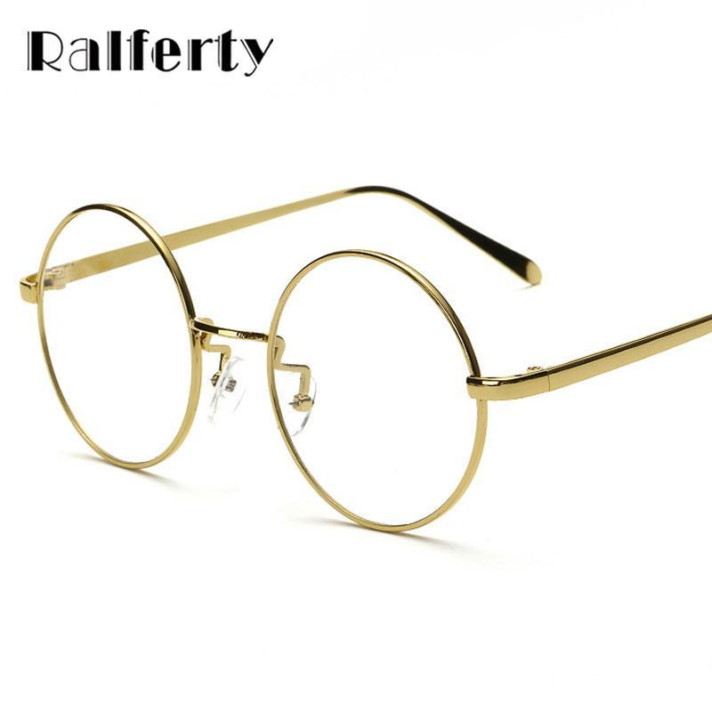 7c025647bf Ralferty Oversized Korean Round Glasses Frame Clear Lens Women Men Retro  Gold Eyeglass Optic Frame Eyewear Vintage Spectacles Online with   29.67 Piece on ...
