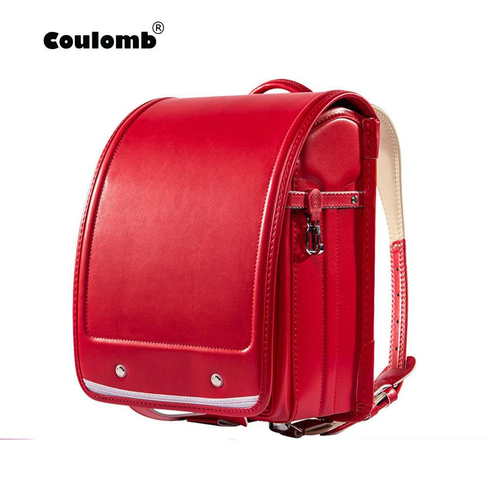Coulomb Kid Orthopedic School Bag Children Backpack For Girl And Boys Students Bookbags Japan Pu Japanese Randoseru Backpack Hot J190427