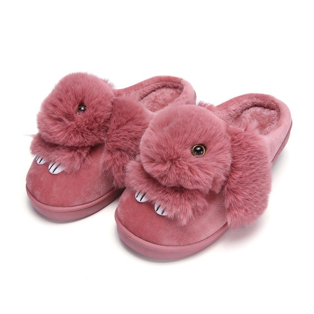 big sale 75755 f7a84 Winterhausschuhe Frauen Schuhe Plüsch Kaninchen Baumwolle Hausschuhe  gemütliche Innenschuhe Haus weiche zufällige Frau