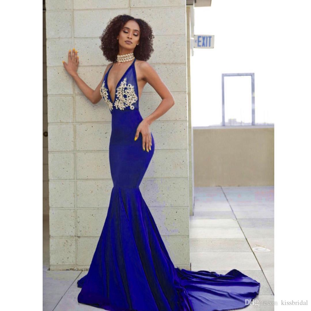 e9ae323a1d9e Blue And Gold Prom Dresses 2019 Mermaid V Neck Open Back Formal Evening  Gowns Crystal Bead Cocktail Party Dress Rhinestone Celebrity Gown Gowns For  Sale ...