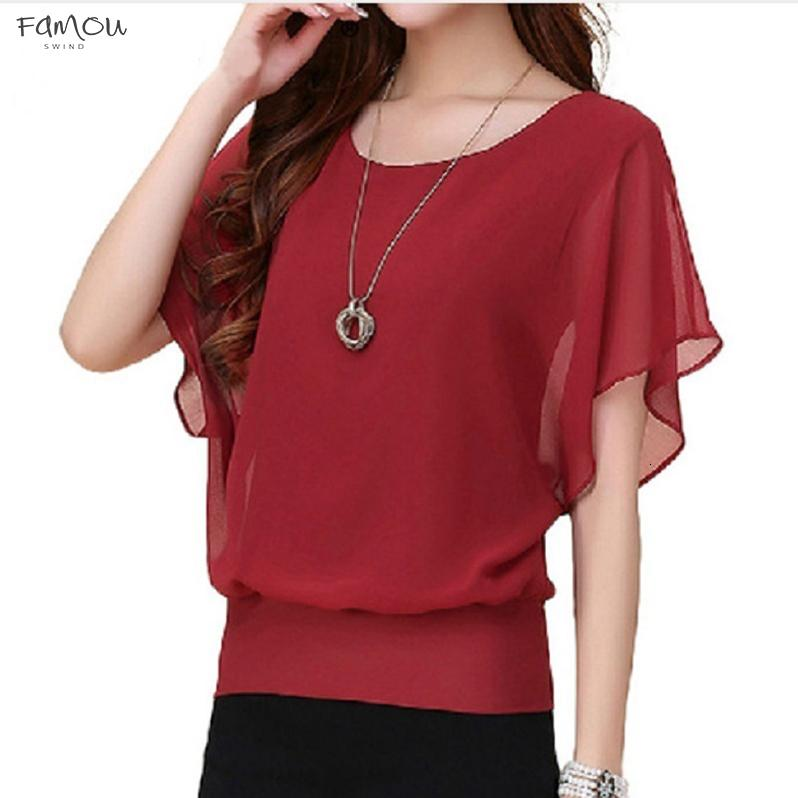 Clothing Women Tops Fashion Summer Blouse Plus Size Ruffle 5Xl Batwing Short Sleeve Casual Lady Shirt Blusas