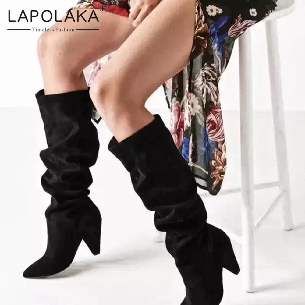 10d81fa38b03 Lapolaka 2019 Large Size 33 43 Strange Style Mid Calf Boots Woman Shoes  Slip On New Fashion Pointed Toe Shoes Women Boots Female Cheap Shoes For  Women ...