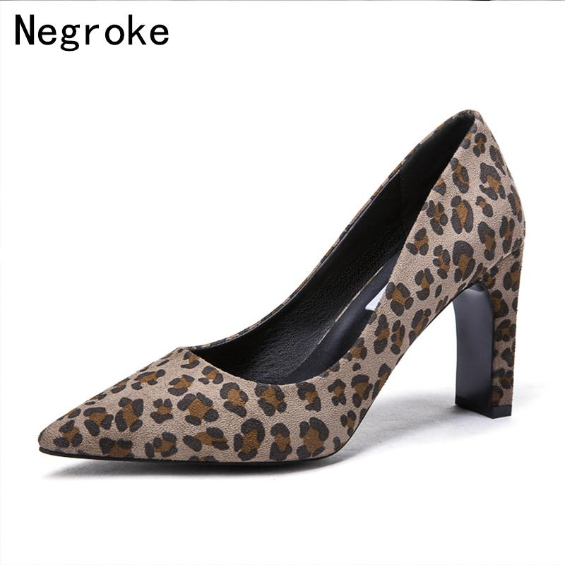 a624f0e8fd2 Sexy Women Pumps High Heels Leopard Shoes Woman Flock Slip On Shallow  Office Wedding Sapato Feminino 8 Cm Heels Plus Size 43 Leather Shoes For  Men Mens ...