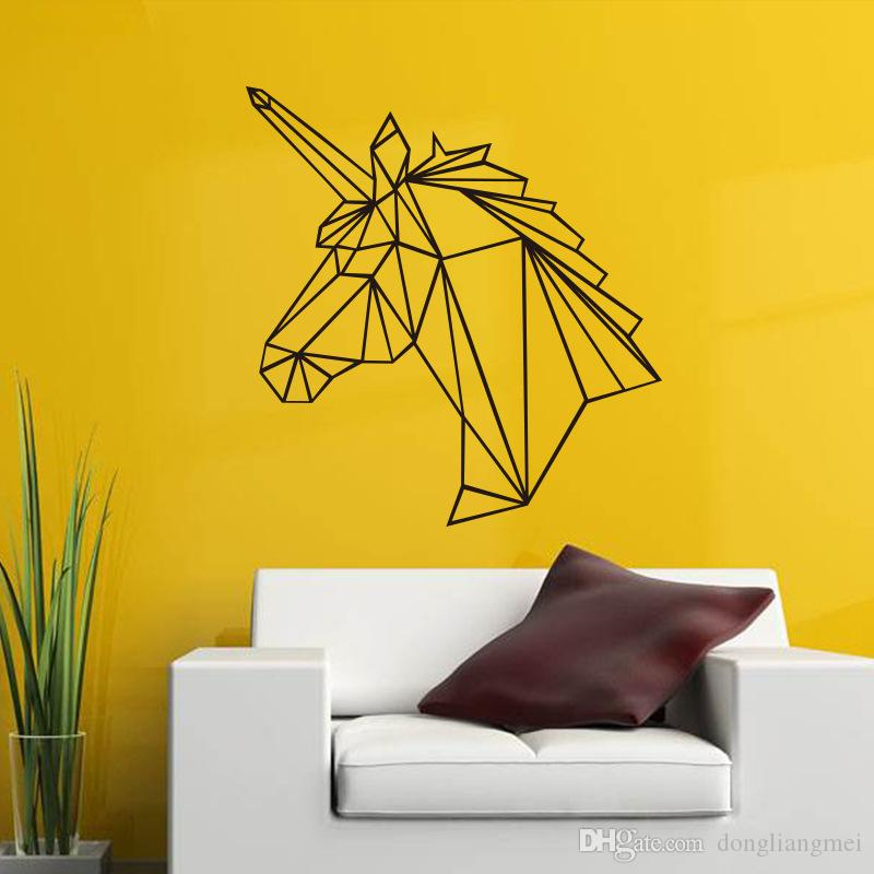 black large unicorn geometric wall sticker removable double sided