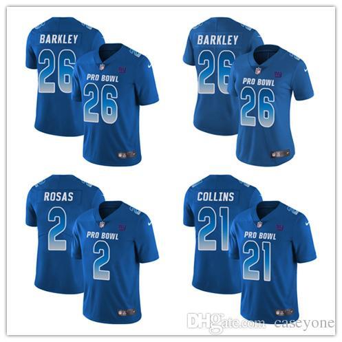 separation shoes 43089 fe3e6 26 Saquon Barkley 2 Aldrick Rosas Limited Jersey New York Men's Giants  Royal Blue NFC 2019 Pro Bowl Football Jersey