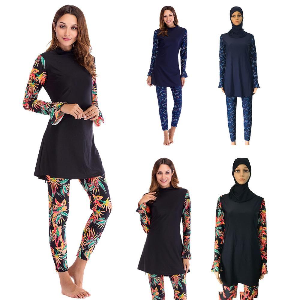 9a79b3d2fc4 2019 Muslim Women Swimsuit Flower Print Full Cover Islamic Swimwear Bathing  Beachwear Arab Burkini Sets Outfits Modesty With Cap New From Yingluo, ...