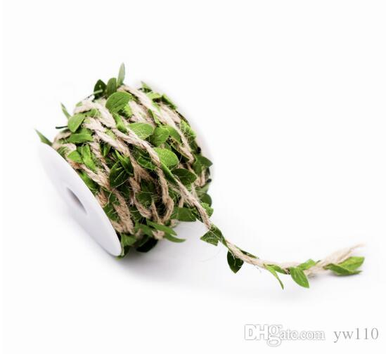 1 yard Simulazione Green Leaves Weaving Hemp Rope DIY Wedding Compleanno Decorazione di nozze Rattan Gift Bouquet Packaging Corda 5mm