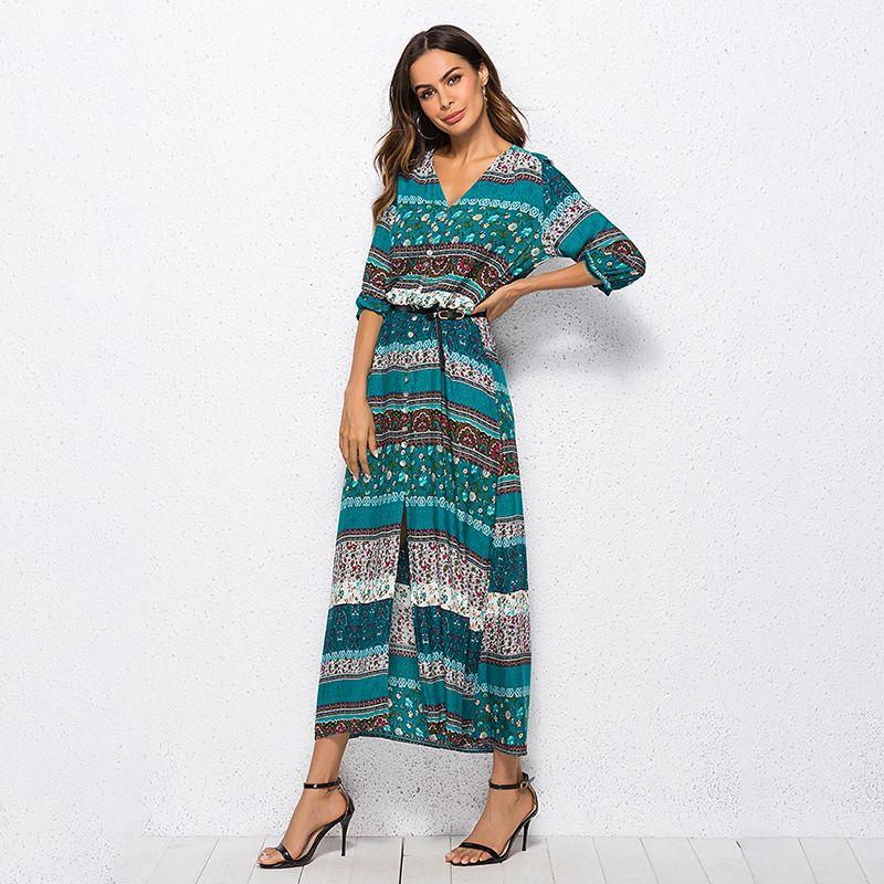 11b3697a5 2019 Vestido largo maxi para mujer Estampado floral Retro Hippie Vestidos  Ropa de marca elegante Vestido boho Vestido largo con estampado bohemio ...