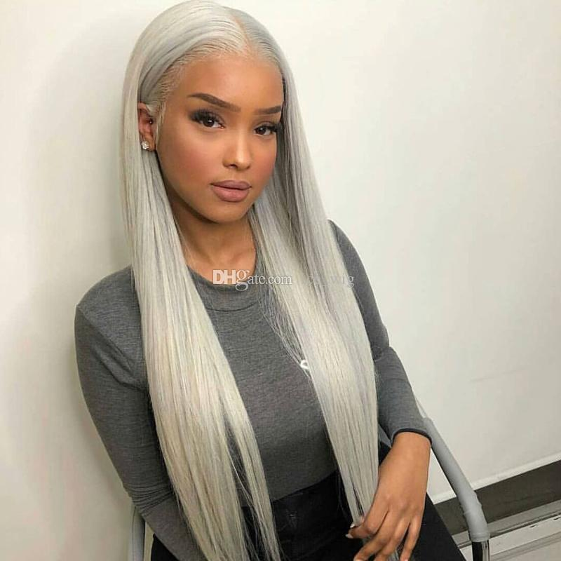 grey human hair full lace wigs brazilian virgin hair gray color lace front wig for black women free shipping