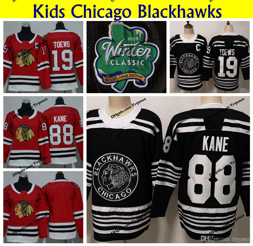 9fd9686414f 2019 Youth Chicago Blackhawks 2019 Winter Classic Black 88 Patrick Kane 19  Jonathan Toews Hockey Jerseys Kids Home Red Stitched Shirts From Tryones,  ...