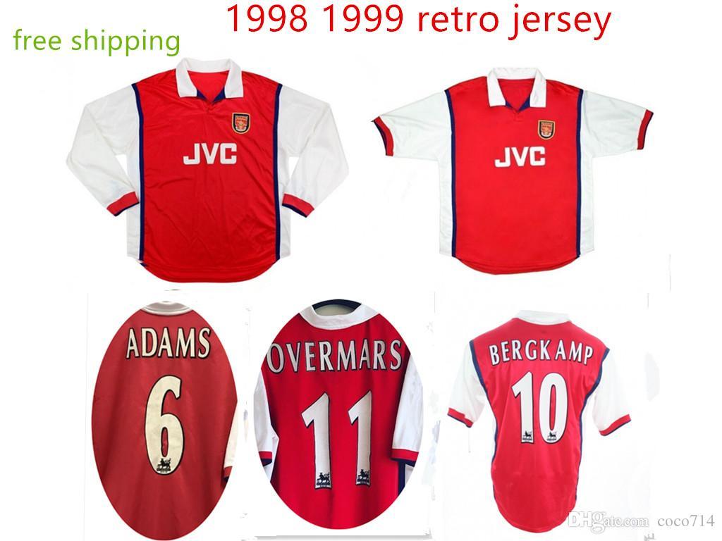 a48dfbb39294d Compre Novo 1998 1999 Arsenal Futebol Jersey 98 99 Home VIEIRA BERGKAMP  ANELKA OVERMARS ADAMS Camisa Retro Clássico Camisas De Futebol De Coco714