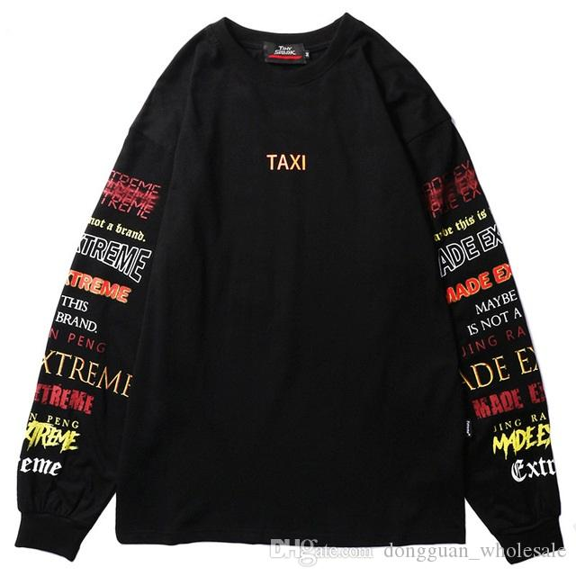 89bd04541ed Men Long Sleeve T Shirt Harajuku Streetwear Retro Colorful Letter Print  Tshirt Hip Hop 2019 Summer Tops Tee Black T Shirt Cotton T Shirst It T Shirt  From ...