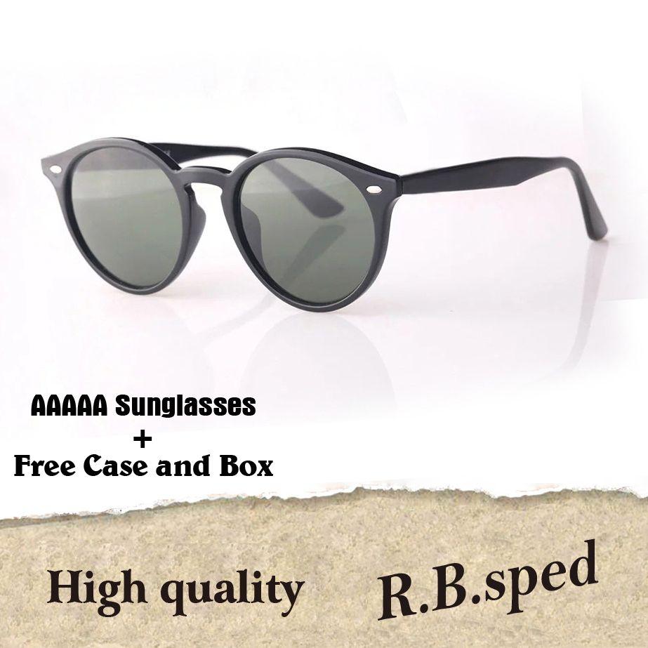 ca6075da87f Fashion Brand Round Sunglasses Men Women Plank Frame Metal Hinge Glass Lens  Retro Vintage Eyewear Shades Sun Glasses With Cases And Box Dragon  Sunglasses ...