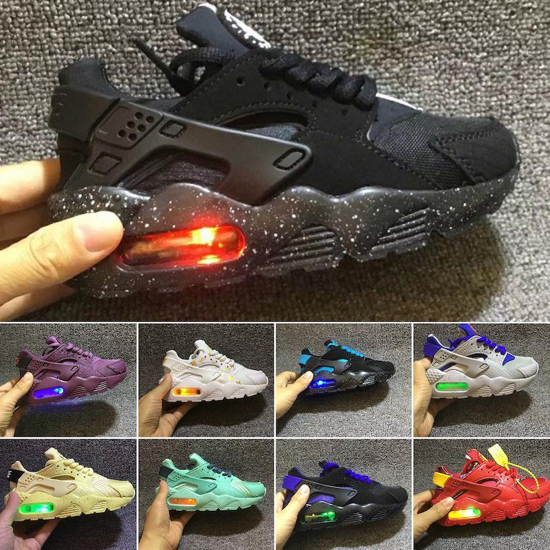 Flash Light Air Huarache Kids Running Shoes Infant Children sports shoes outdoor luxry Tennis huaraches Trainers Sneakers