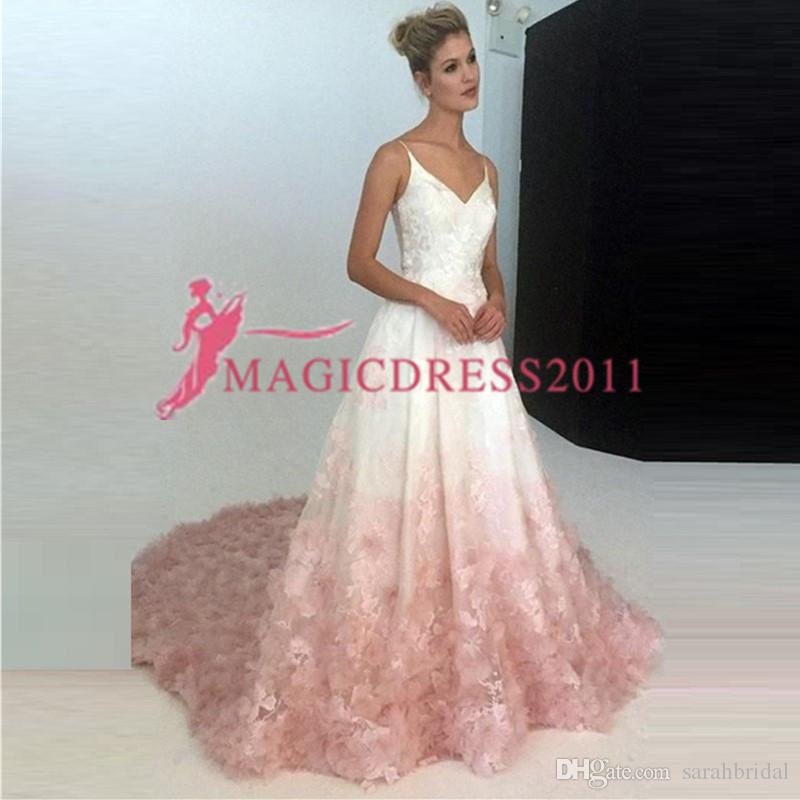 7e7a5f62efed 2019 Pink And White Prom Dress Illusion V Neckline Organza Lace  Appliques/Ruffle/Beads Sheer Back Spaghetti Straps Evening Dresses Prom  Dresses With Lace ...
