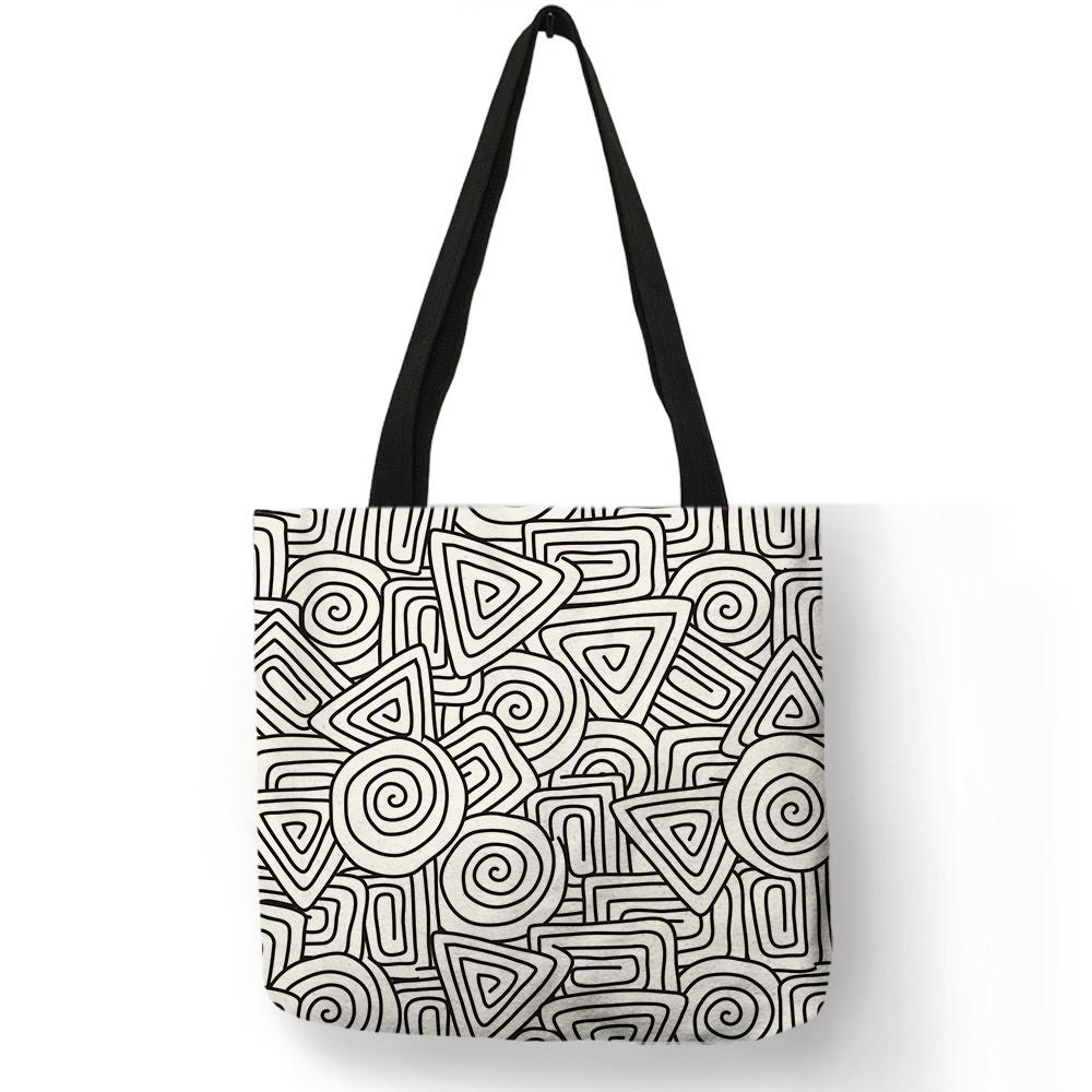 572bd770b06 Complicated Geometry Pattern Linen Bag Link Maze Abstract Print Good Fabric  Shoulder Bag Women Men Practical Handmade Tote Bags