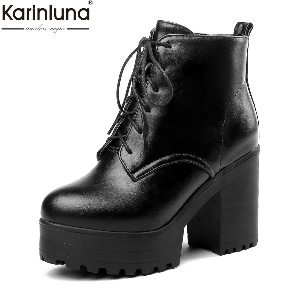 Karinluna 2019 Large Size 33-44 Fashion Zip Up Women Shoes Woman Boots Chunky high Heels Platform Ankle Boots Woman Shoes