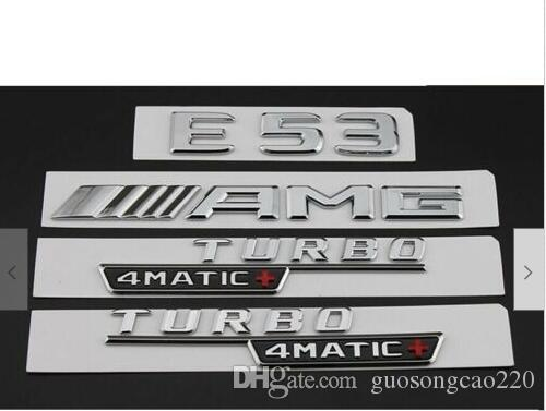 Chrome E53 AMG TURBO 4MATIC + Tronco pára-choque emblemas emblemas para Mercedes Benz
