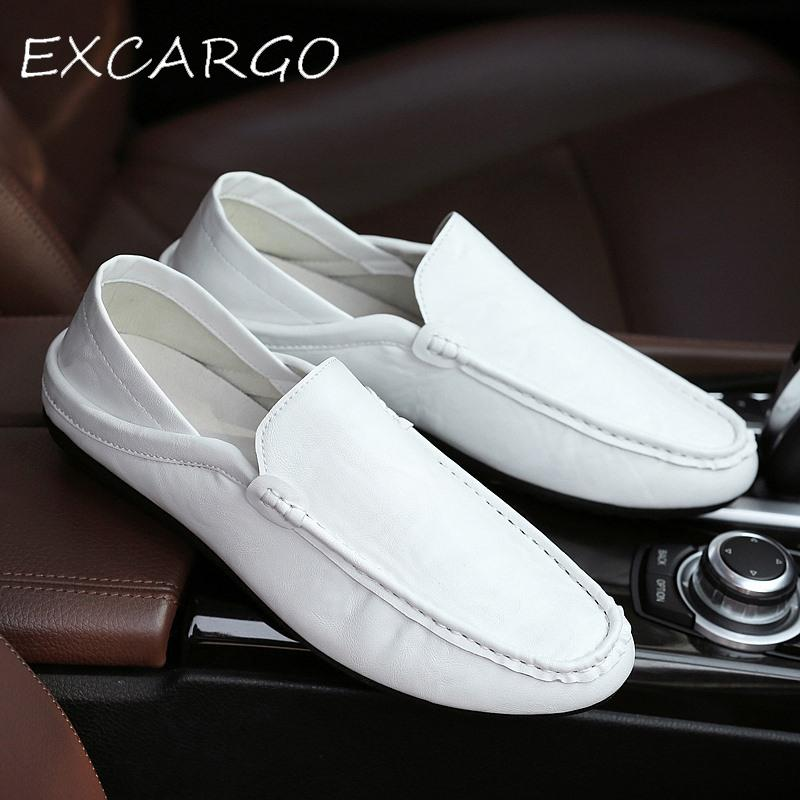 EXCARGO Basic Casual Shoes For Men Fashion Sneaker PU Leather 2019 Mew Summer Hot Sale White Loafers Flats Shoes Mens Mules Shoe