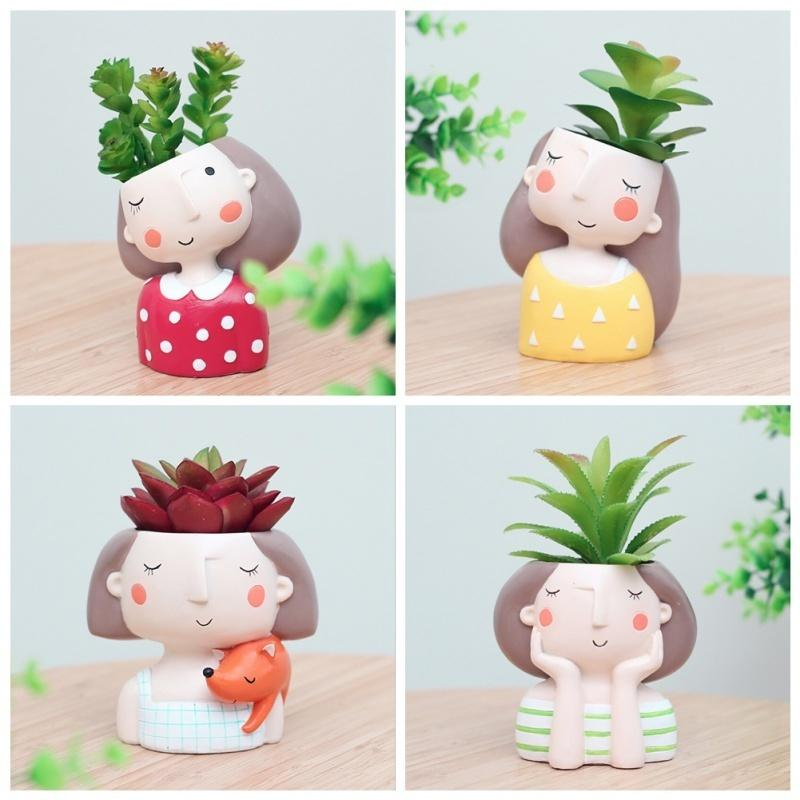 1 Pcs Wholesale Flowerpot Plant Cute Girl Planter Home Garden Mini Bonsai Cactus Flower Pot Wedding Birthday Gift C19041901