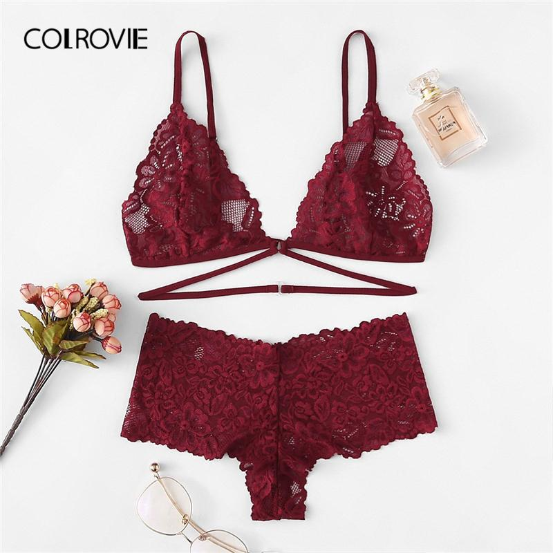 f48c34bfac 2019 Wholesale Burgundy Floral Lace Sexy Lingerie Set 2019 New Fashion Women  Wireless Transparent Underwear Bra Set Female Intimates From ...