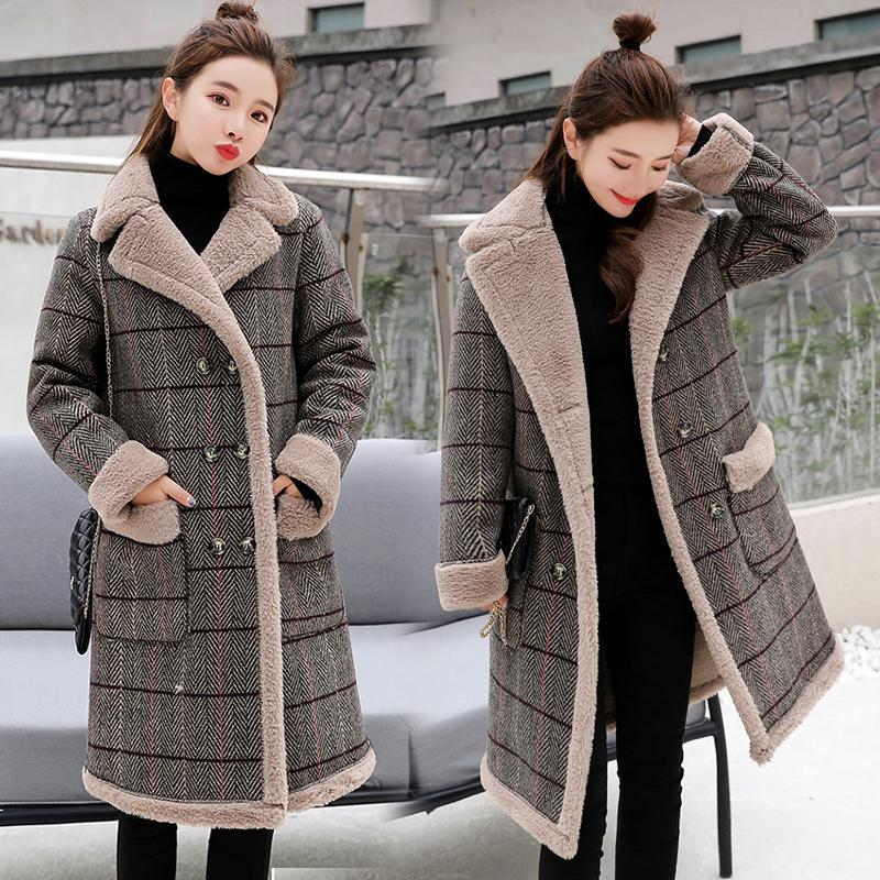0a3e64756b5 2019 Casual Thick Cotton Women S Winter Faux Lambs Wool Coat 2019 Fashion  Flannel Woman Warm Wool Blends Long Coats From Jerkin