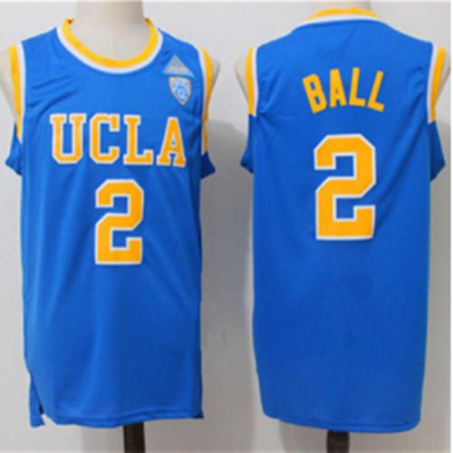 2019 Mens 2 Lonzo Ball UCLA Bruins Blue Mens 100% Double Stitched ... 869ab7411