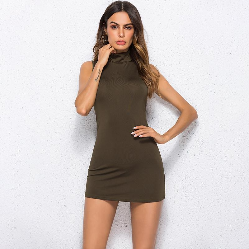 Women Summer 2019 Dress Plus Size Sexy Women Solid Turtleneck
