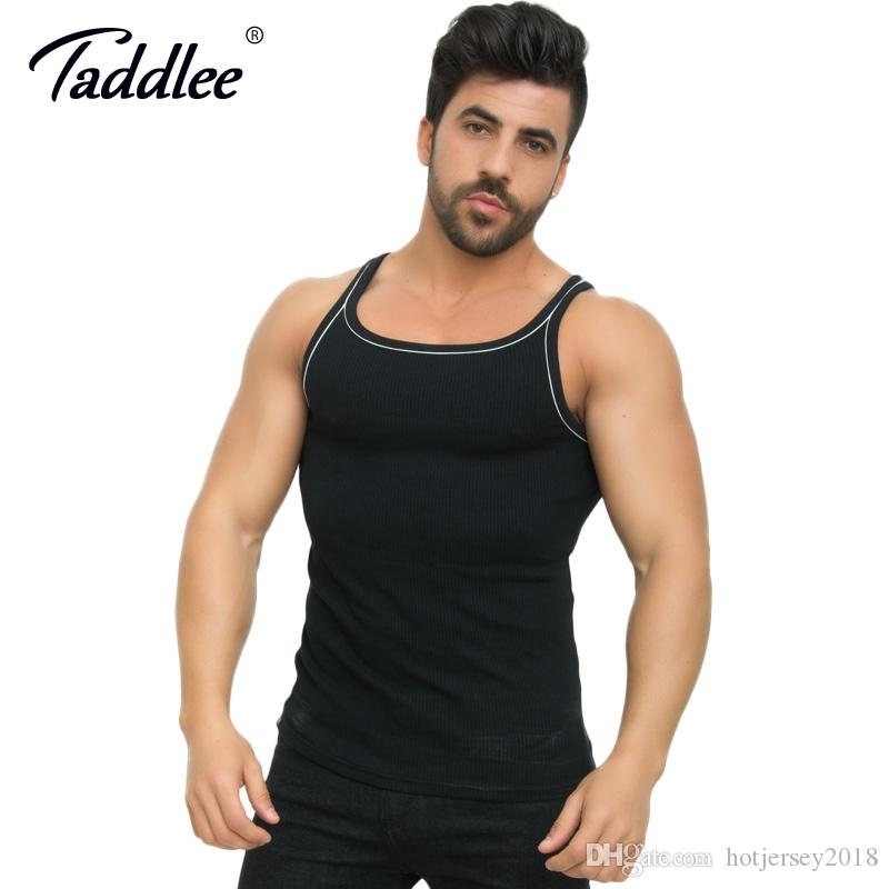 Taddlee Brand 2-pack Men Tank Top Tees Shirts Sleeveless Sports Gym Tshirt Cotton Fitness Gasp Stringers Bodybuilding Singlets Last Style Running Vests