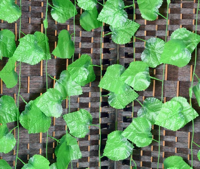 홈 정원 장식 시뮬레이션 가짜 꽃 등나무를위한 인공 녹색 식물 덩굴 벽 매달려 가짜 잎 식물