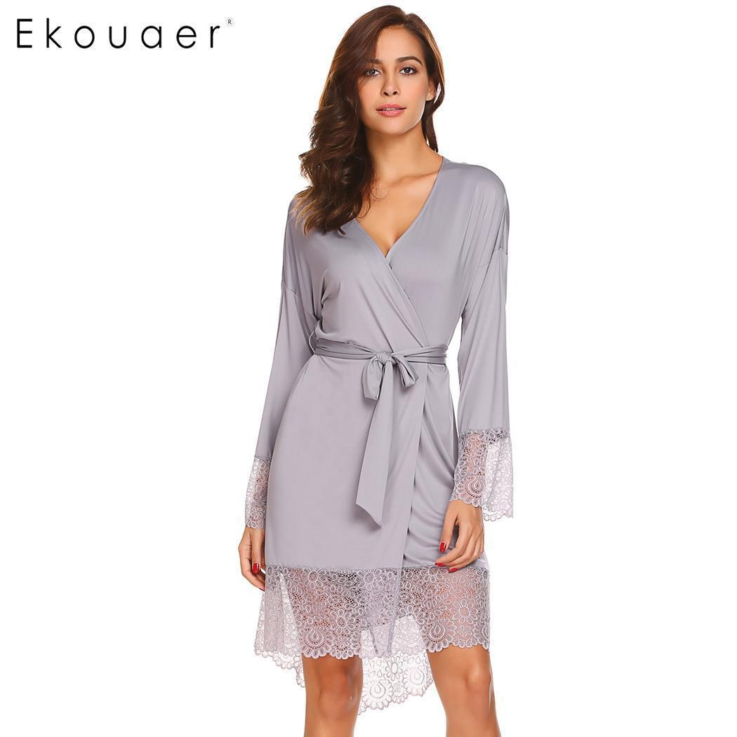 ce75a29ec 2019 Ekouaer Women Sleepwear Robe Sexy Night Robes Long Sleeve Lace  Patchwork Dressing Gown Kimono Robe Nightgown Female Nightwear Q1904020  From Lizhang02, ...