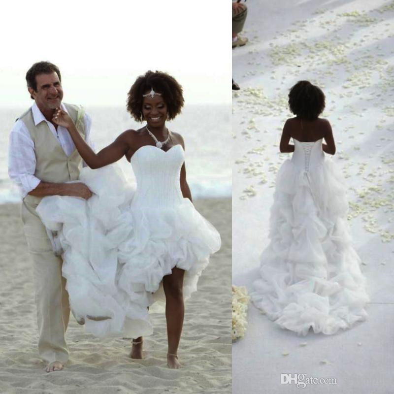 ca7733d34 Discount Sexy African Beach Boho Wedding Dresses High Low Chapel Train  White Organza Bridal Gowns Sweetheart Cascading Ruffles Tiers Wedding Dress  A Line ...