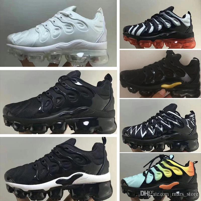 NIKE AIR MAX TN Alta calidad 2019 mosca zapatillas deportivas para niños zapatos atléticos niños niñas entrenamiento de los niños negro gris naranja
