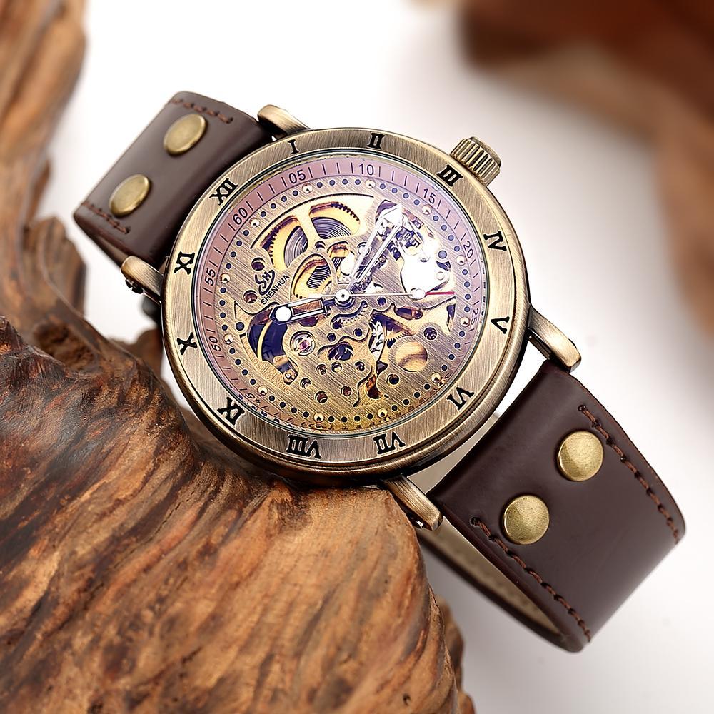 Hommes Relogio Mécaniques Casual Montre Masculino Montres Squelette Mode Bracelet Automatique Bronze Vintage 3TKcFJ1ul