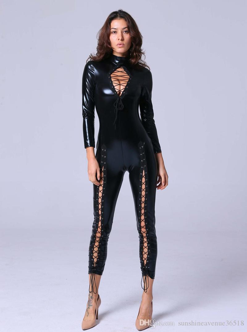 Newly Sexy Black Faux Leather Jumpsuit Women Open Chest Lace Up Romper Tight-fitting Catsuit Novelty Club Party Costume