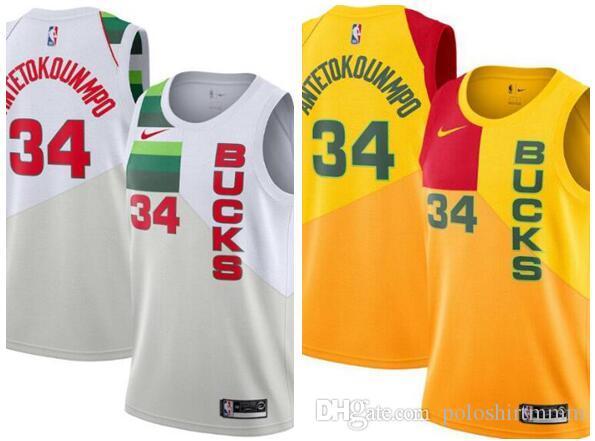 2019 2019 Men M Bucks  34 Antetokounmpo White 2018 19 Swingman Jersey Earned  Edition From Poloshirt7 ce67ba7c6