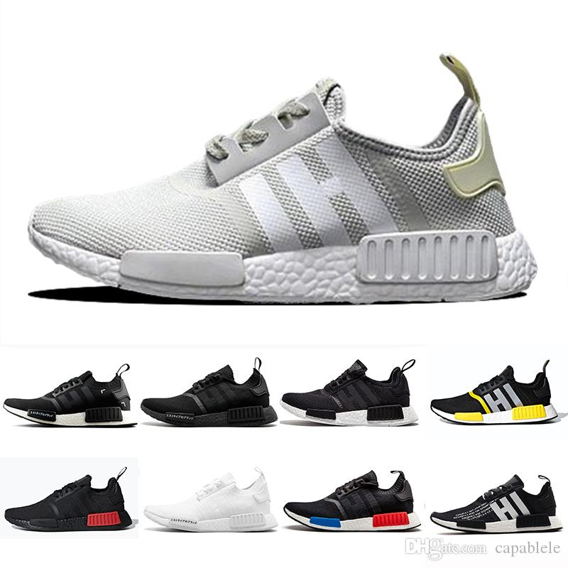 outlet store 566c7 05cb8 2019 Atmos NMD R1 Cream Running Athletic shoes Tri-Color OG Classic Men  Women Triple Black white Red Marble Sports Trainer Sneakers