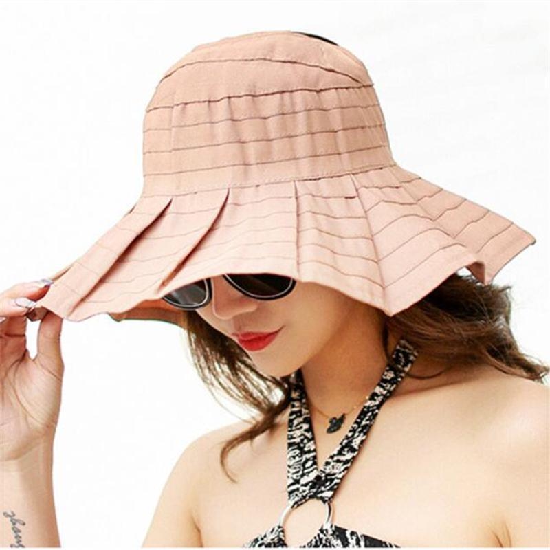 Compre Para Mujer Vacío Superior Plegable Sombrero Para El Sol Moda De  Verano Sombreros De Ala Ancha Para Las Mujeres Color Sólido Playa Sombreros  Para El ... d8e8550852b