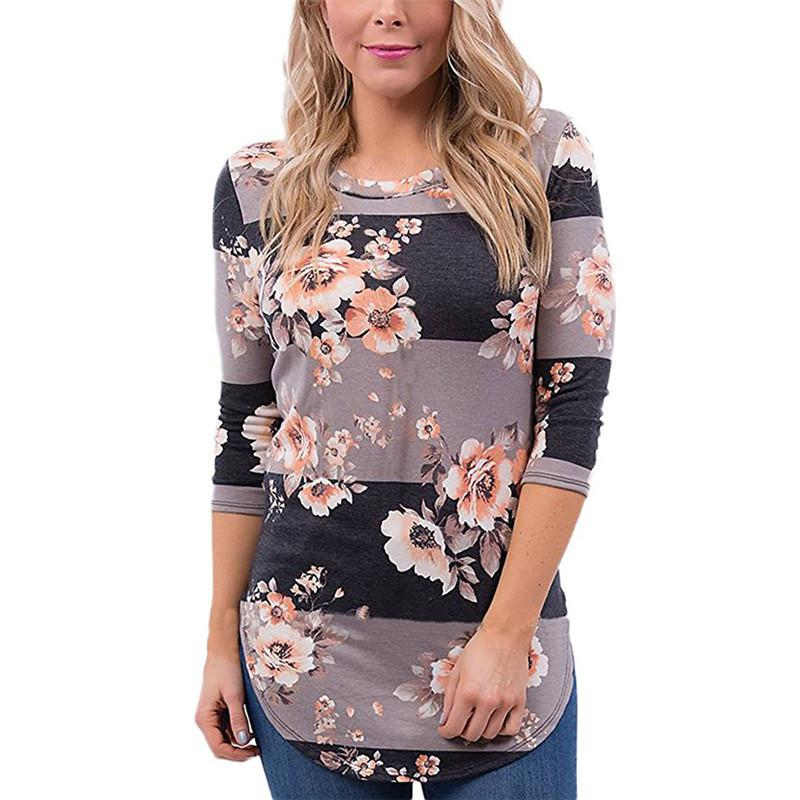 cf479475827b Women Long Sleeve T Shirt 2019 Autumn 3/4 Sleeve Floral Print T Shirts O  Neck Casual Striped Tops Cotton Tee Shirt Plus Size Xxl T Shirt A Day Retro  Tee ...