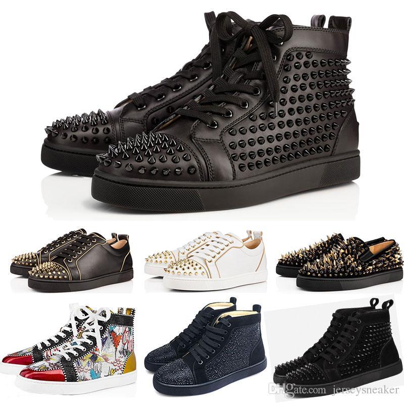 tout neuf 881bc fd90e christian louboutin cloutées chaussures à crampons chaussures rouges bas  chaussures hommes femmes amateurs de fête baskets en cuir véritable taille  ...