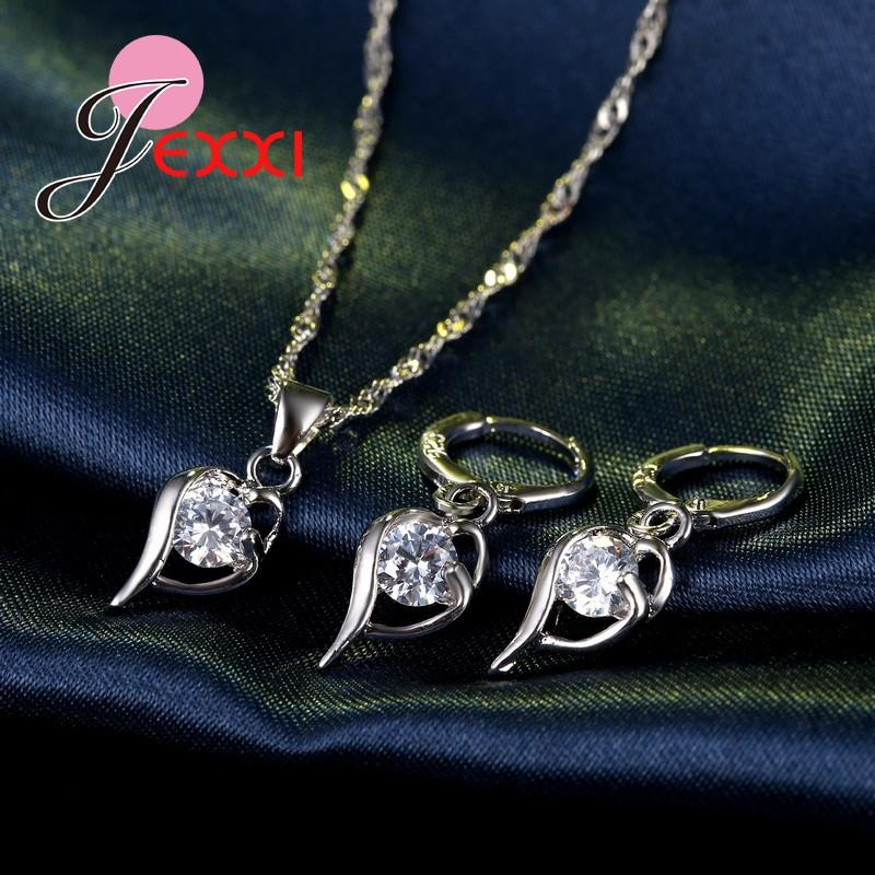 JEXXI Elegant Cubic Zircon Wedding Jewelry Set For Women 925 Sterling Silver Necklace Earrings Bridal Jewerly Sets